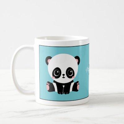 Monogram Cute Panda Personalized Bubble Gum Blue Coffee Mug