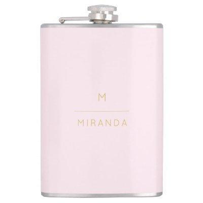 Monogram Elegant Blush Pink Gold Minimalist Classy Flask