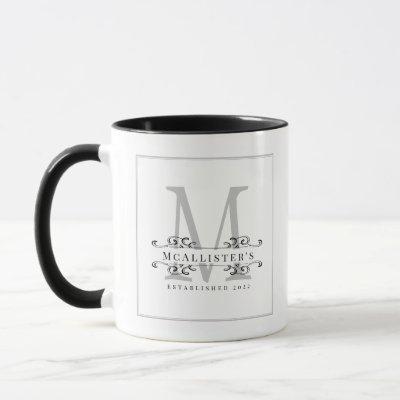 Monogram Elegant Swirls Black White Family Classy Mug