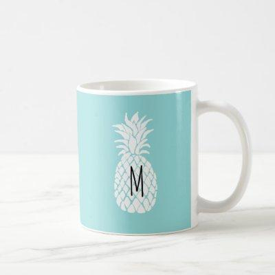 monogram on white pineapple coffee mug