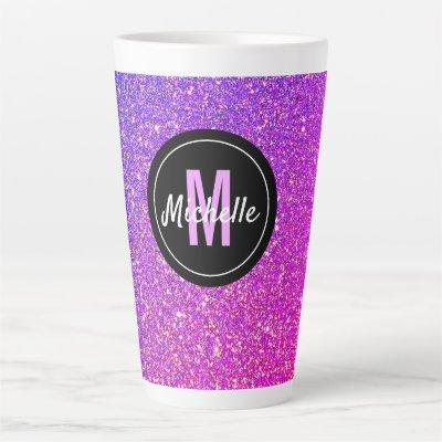 Monogram Purple Pink Ombre Glitter Girly Latte Mug
