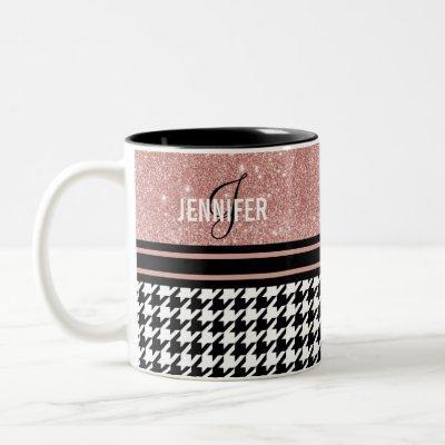 Monogram rose gold glitter houndstooth custom name Two-Tone coffee mug