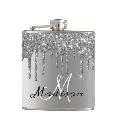 Monogram Silver Glitter Drips Girly Sparkle Flask
