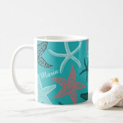 Monogram Starfish on a Turquoise Background Coffee Mug