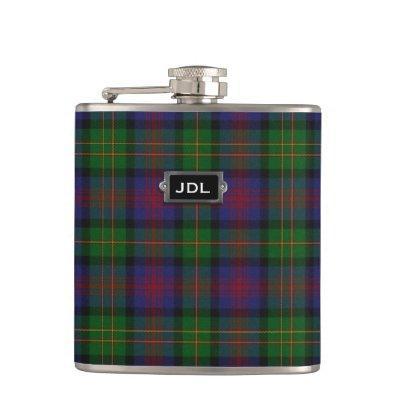 Monogramed Clan Logan Tartan Plaid Flask