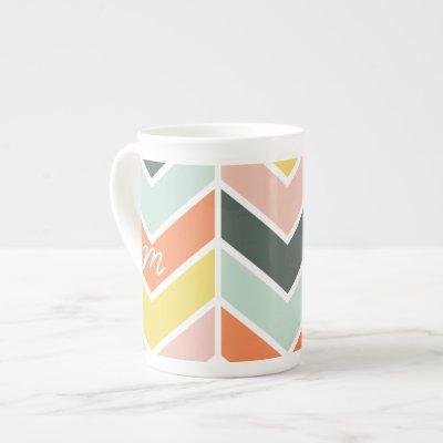 Monogrammed | Cheerful Chevron by Origami Prints Bone China Mug
