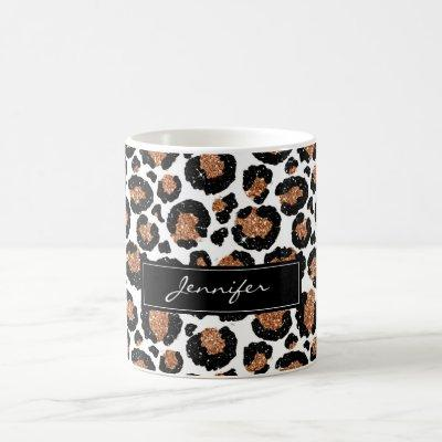 Monogrammed White and Gold Foil Cheetah Pattern Coffee Mug