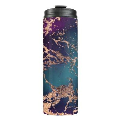 Moody Marble | Deep Luxe Purple Teal Rose Gold Thermal Tumbler
