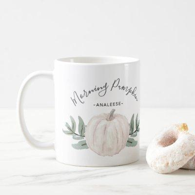 Morning Pumpkin Watercolor Pumpkin with Name Coffee Mug