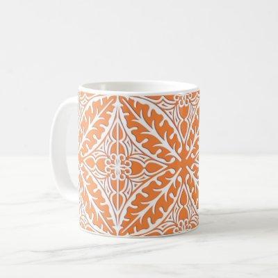 Moroccan tiles - coral orange and white coffee mug