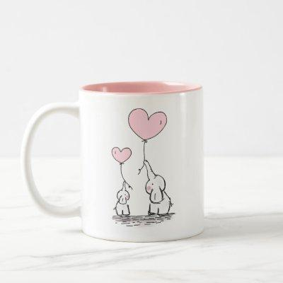 Mother and Baby Elephants with Heart Balloons Two-Tone Coffee Mug
