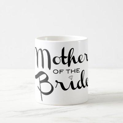 Mother of Bride Retro Script Black on White Coffee Mug