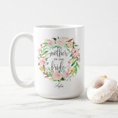 Mother of the Bride, Calligraphy, Floral Wreath-5 Coffee Mug