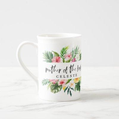 Mother of the bride watercolor floral bone china mug