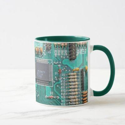 Motherboard, circuit board photo, computer nerd mug