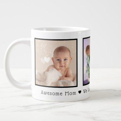 Mother's Day 3 Photos Personalized Giant Coffee Mug