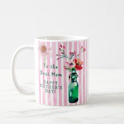 MOTHER'S DAY BEST MOM LOVELY FLORAL MESSAGE   COFFEE MUG