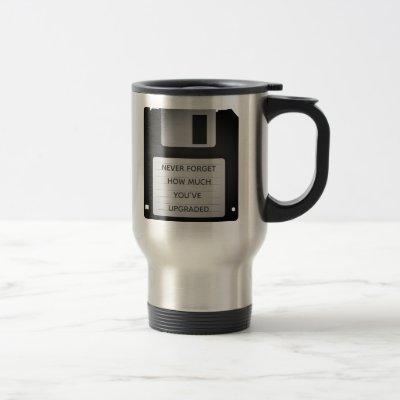 Motivational Floppy Disk Upgrade Quote Travel Mug