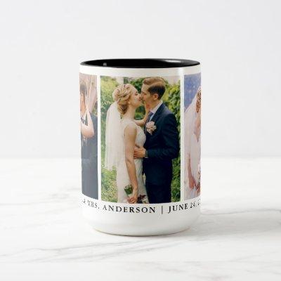 Mr. and Mrs. 3 Photo Bride and Groom Wedding Large Two-Tone Coffee Mug