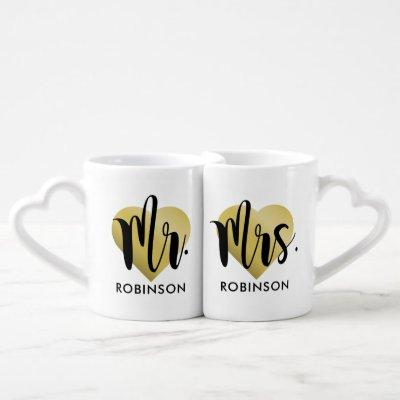 Mr. and Mrs. Gold Heart Monogram Wedding Coffee Mug Set