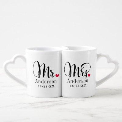 Mr. and Mrs. Married Name Red Heart Monogram Coffee Mug Set