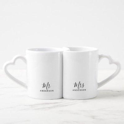 Mr and Mrs | Modern Script Personalized Coffee Mug Set