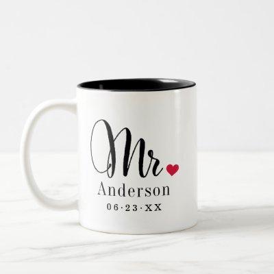 Mr. Black Script Married Monogram Wedding Two-Tone Coffee Mug