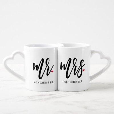 Mr. & Mrs. Modern Black Script Couples Mugs