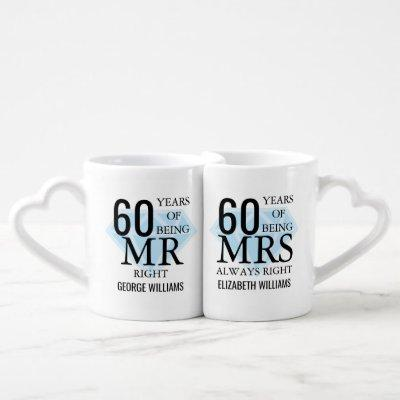Mr Mrs Right Fun Diamond 60th Anniversary Coffee Mug Set