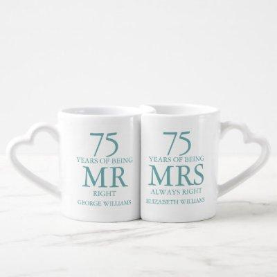 Mr Mrs Right Fun Diamond 75th Anniversary Coffee Mug Set
