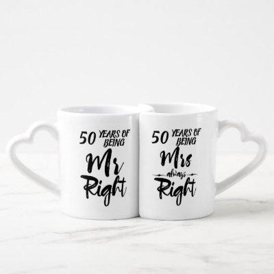 Mr Right and Mrs Always Right 50th Anniversary Coffee Mug Set