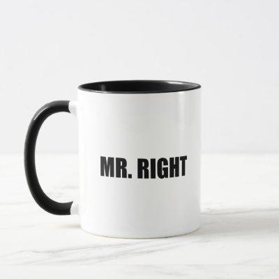 Mr Right Funny Couple Set Mug