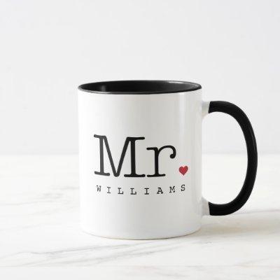 Mr. Vintage Black Monogram Personalized Wedding Mug