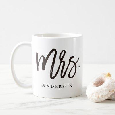 Mrs. calligraphy personalized coffee mug