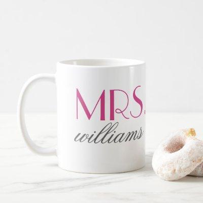 Mrs Elegant Hot Pink Personalized Wedding Monogram Coffee Mug