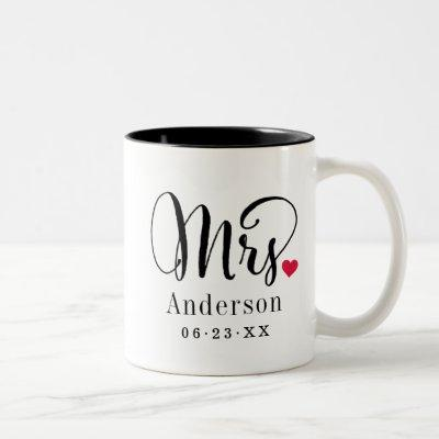 Mrs Elegant Script Heart Custom Wedding Monogram Two-Tone Coffee Mug