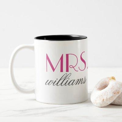 Mrs. Hot Pink Wedding Monogram Two-Tone Coffee Mug