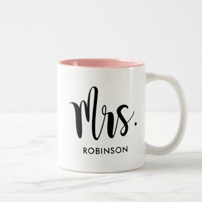 Mrs. Modern Script Monogram Wedding Two-Tone Coffee Mug
