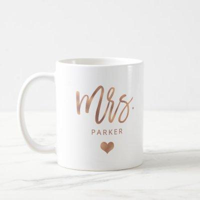 Mrs. | Rose Gold Script with Heart Coffee Mug