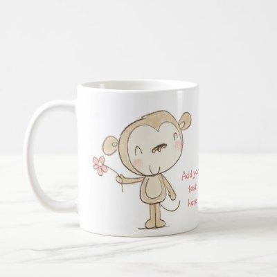 ♥ MUG ♥ Cute Monkey with pink flower illustration