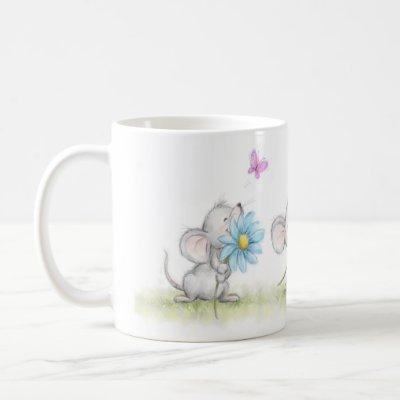 mug with three cute mice holding pretty flowers