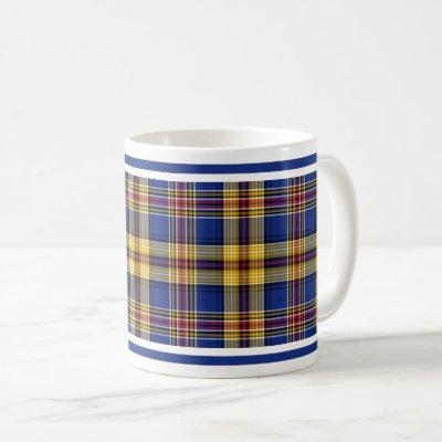 Murtaugh Tartan Blue and Gold Irish Plaid Coffee Mug