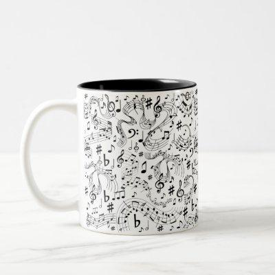 Music Musical Notes Black and White Two-Tone Coffee Mug