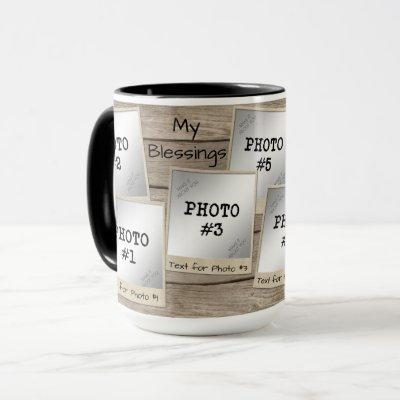 My Blessings 7-Photo Vintage Photo Frames-Wood Mug