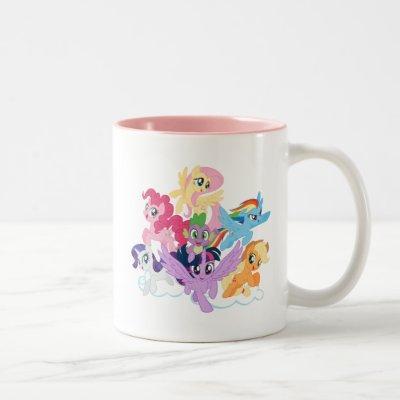 My Little Pony | Mane Six on Clouds Two-Tone Coffee Mug