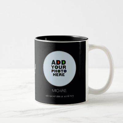 name, date & custom photo black Two-Tone coffee mug