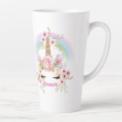 Named UNICORN Pink Gold Flowers Girls Teens Gifts Latte Mug