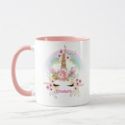 Named UNICORN Pink Gold Flowers Girls Teens Gifts Mug