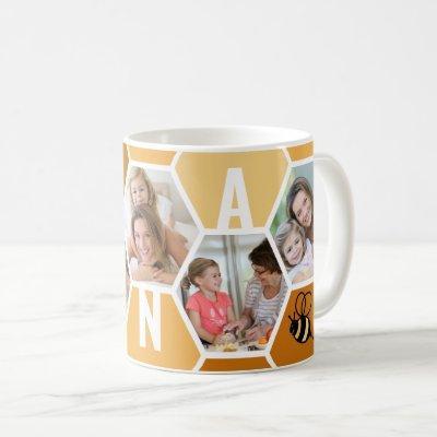 Nana 5 Photo Editable 4 Letter Bee and Honeycomb Coffee Mug