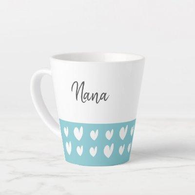 Nana Heart Turquoise Latte Mug